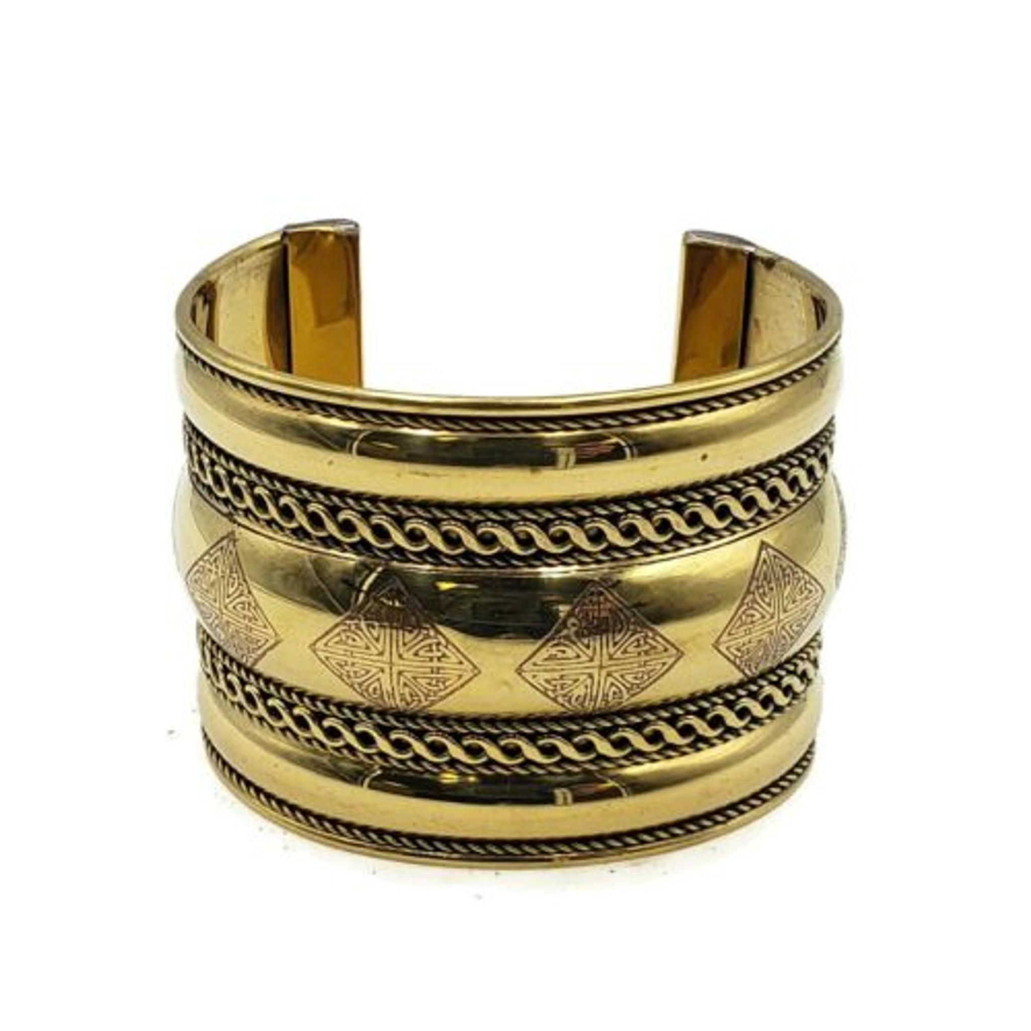 Fashion Ornate Brass Boho Cuff Gold Tone Metal Bracelet Ethnic Patina Bracelet