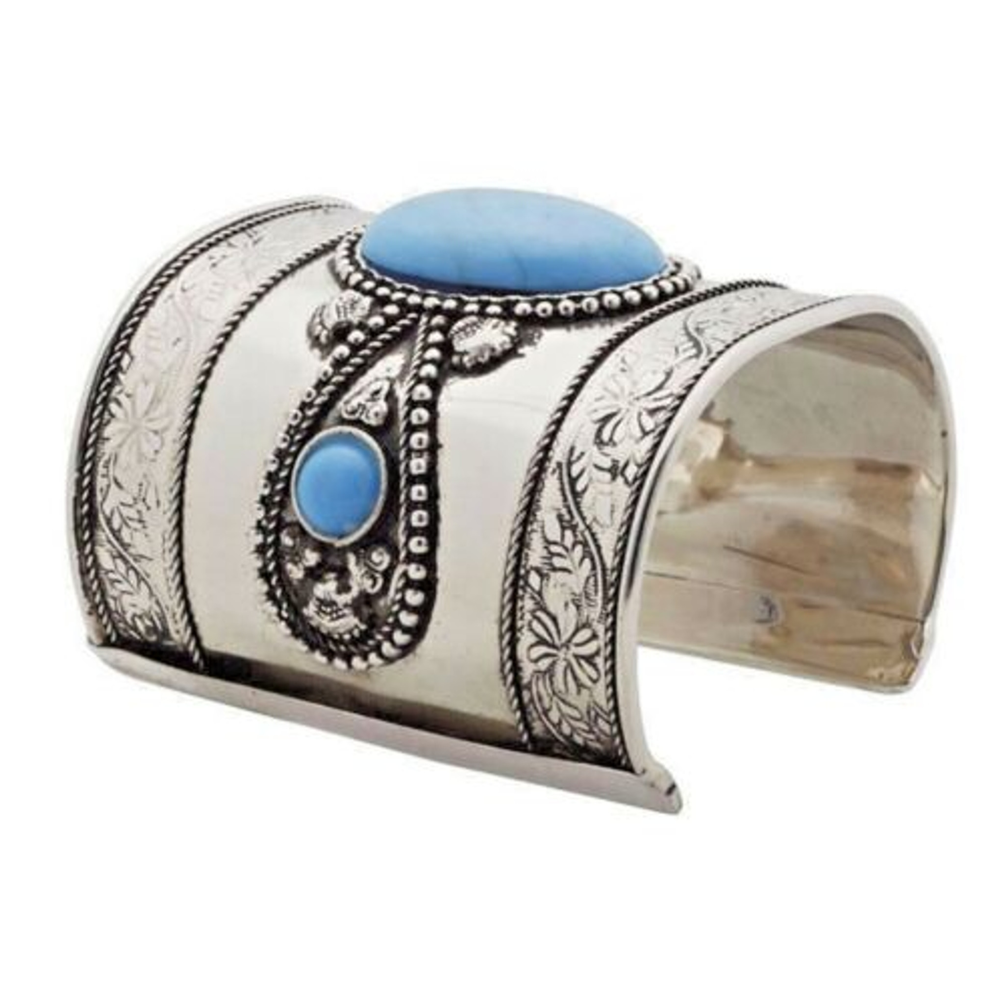 Ornate Brass Cuff with Blue Resin Cabochon