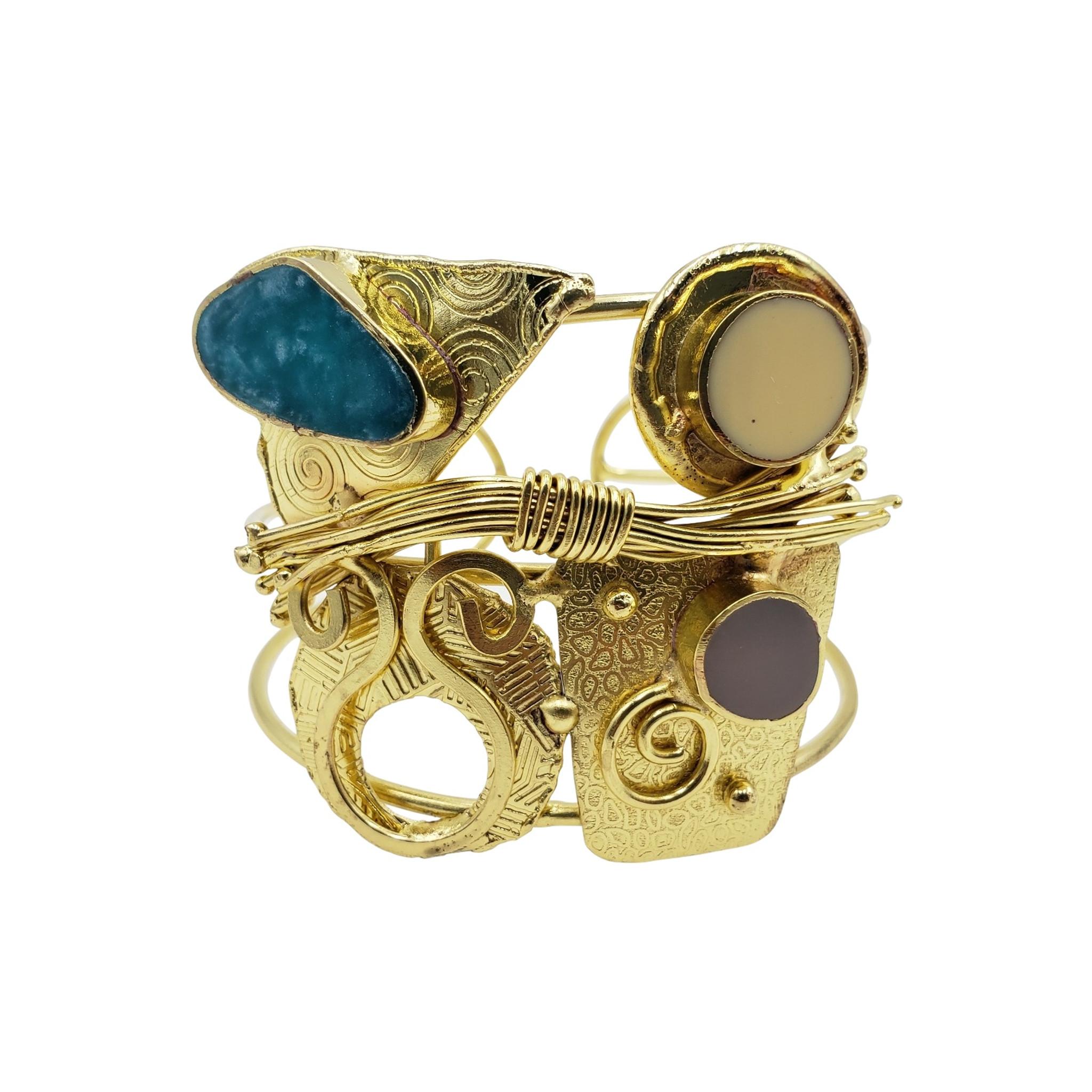 Tahleea Tribal Brass Wire Wrap Cuff Bracelet