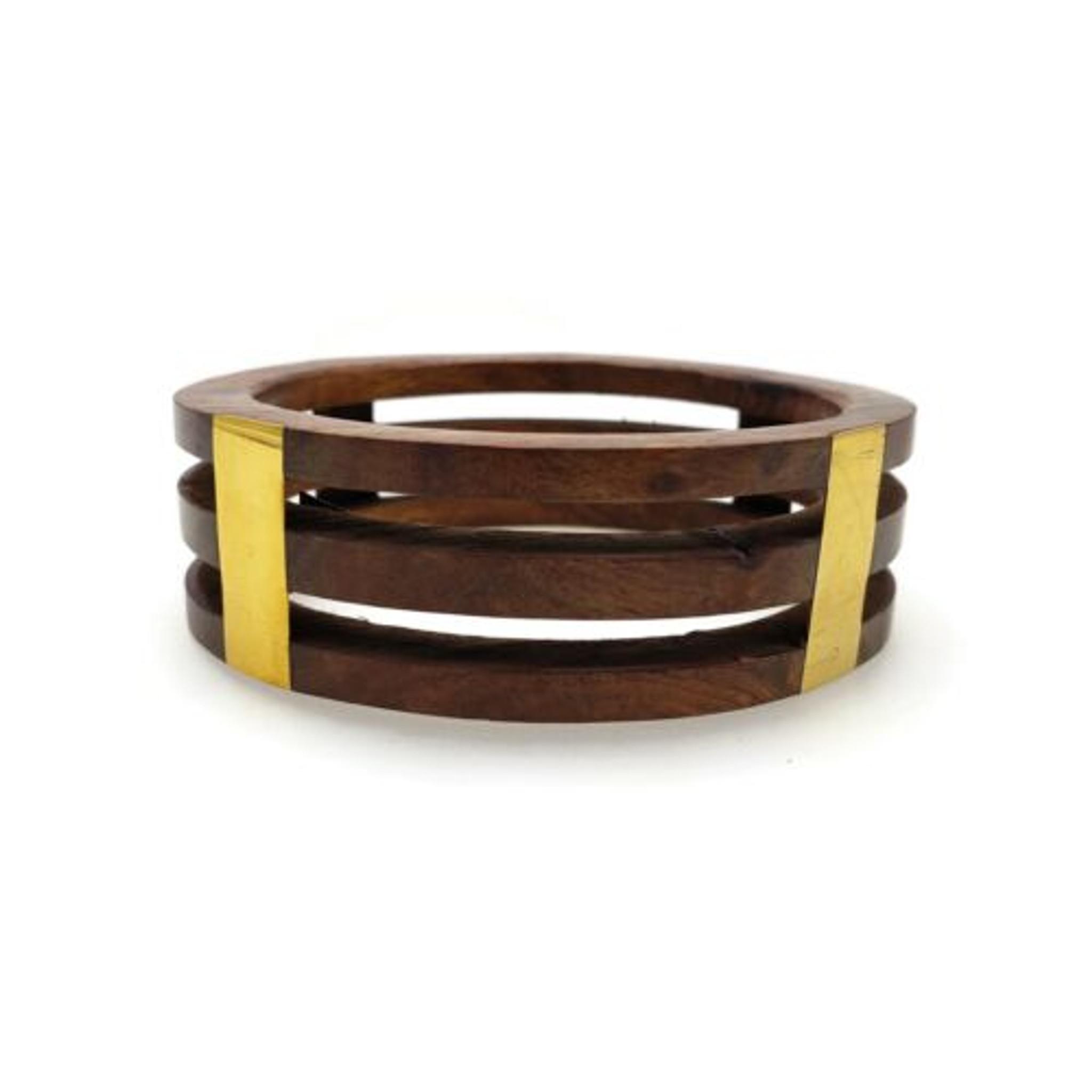 Serena Layered Wood and Brass Inlay Bangle