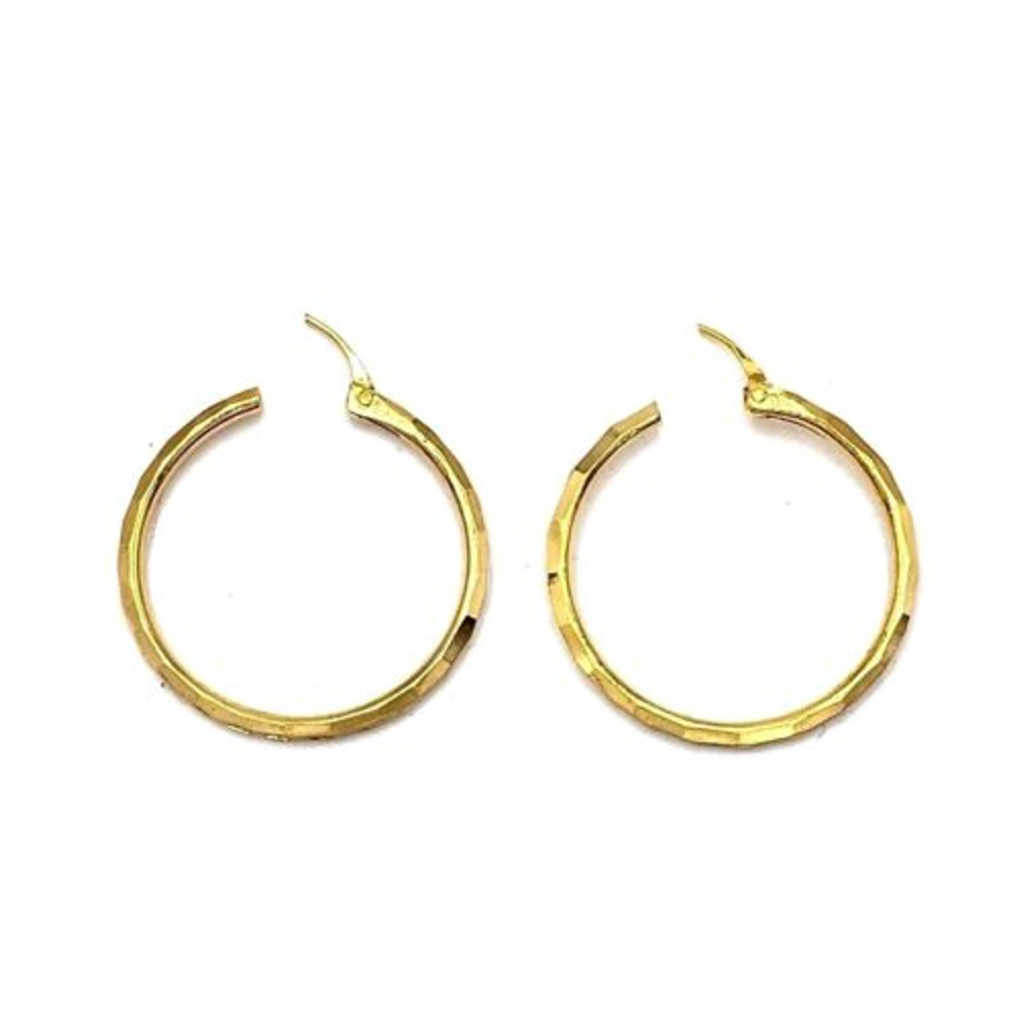 """Quiesha Gold Plated Round Hoop Earrings 1.1"""" / 1.3"""""""
