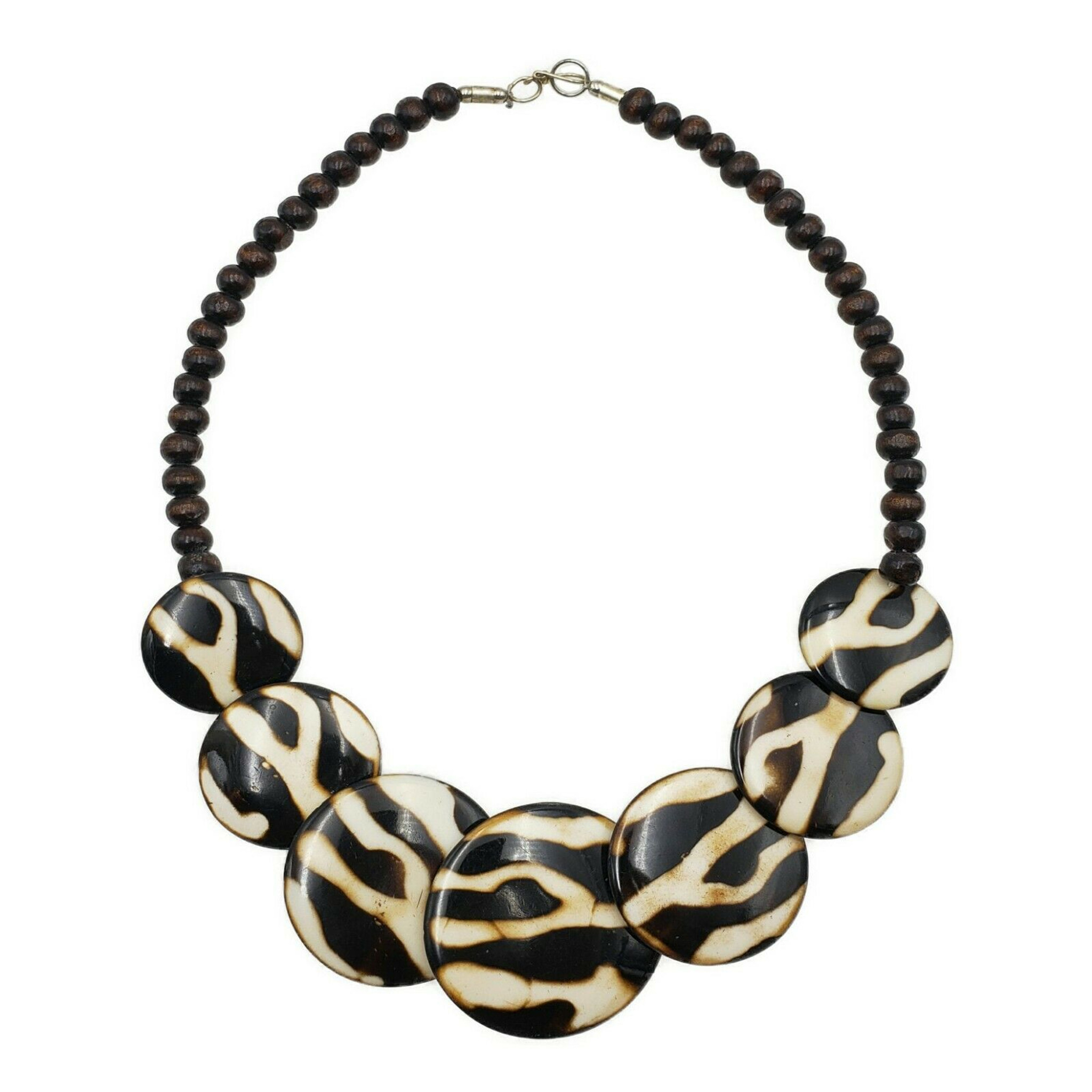 Mandisa Batik Print Resin Necklace with Wood Beads