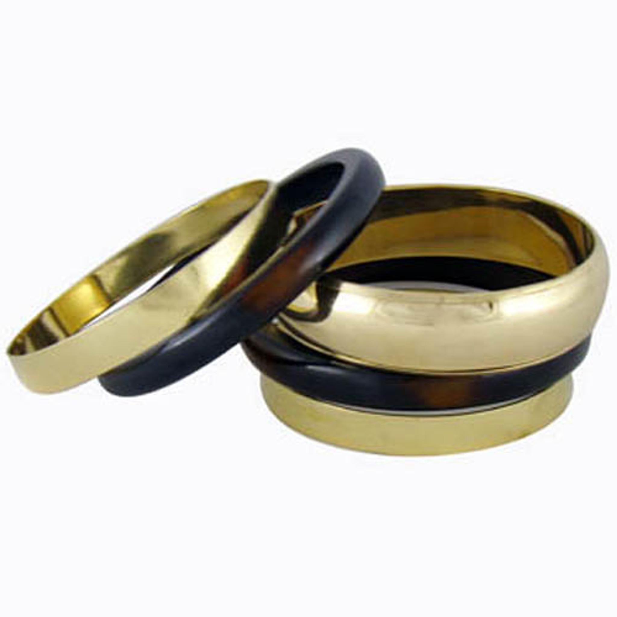 Elegant Look Brass and Resin Bangle Bracelet Set Of 5