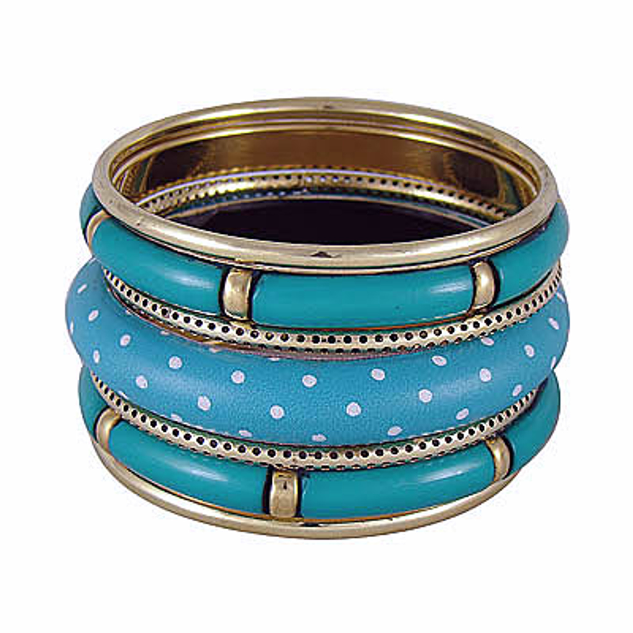 Keandra Resin and Brass Metal Bangle Bracelet Set Of 7