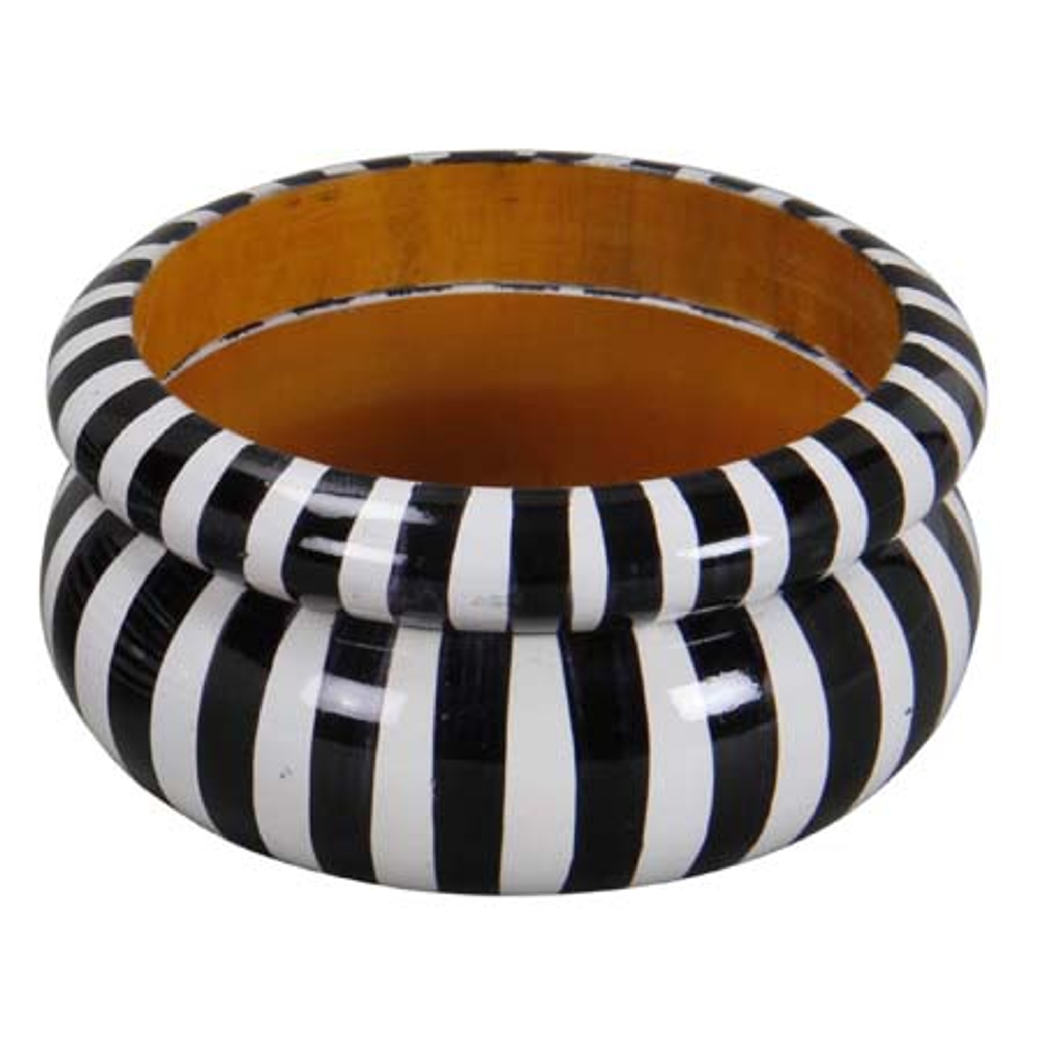 Sauda Wood Bangles Painted with Black & White Vertical Stripes