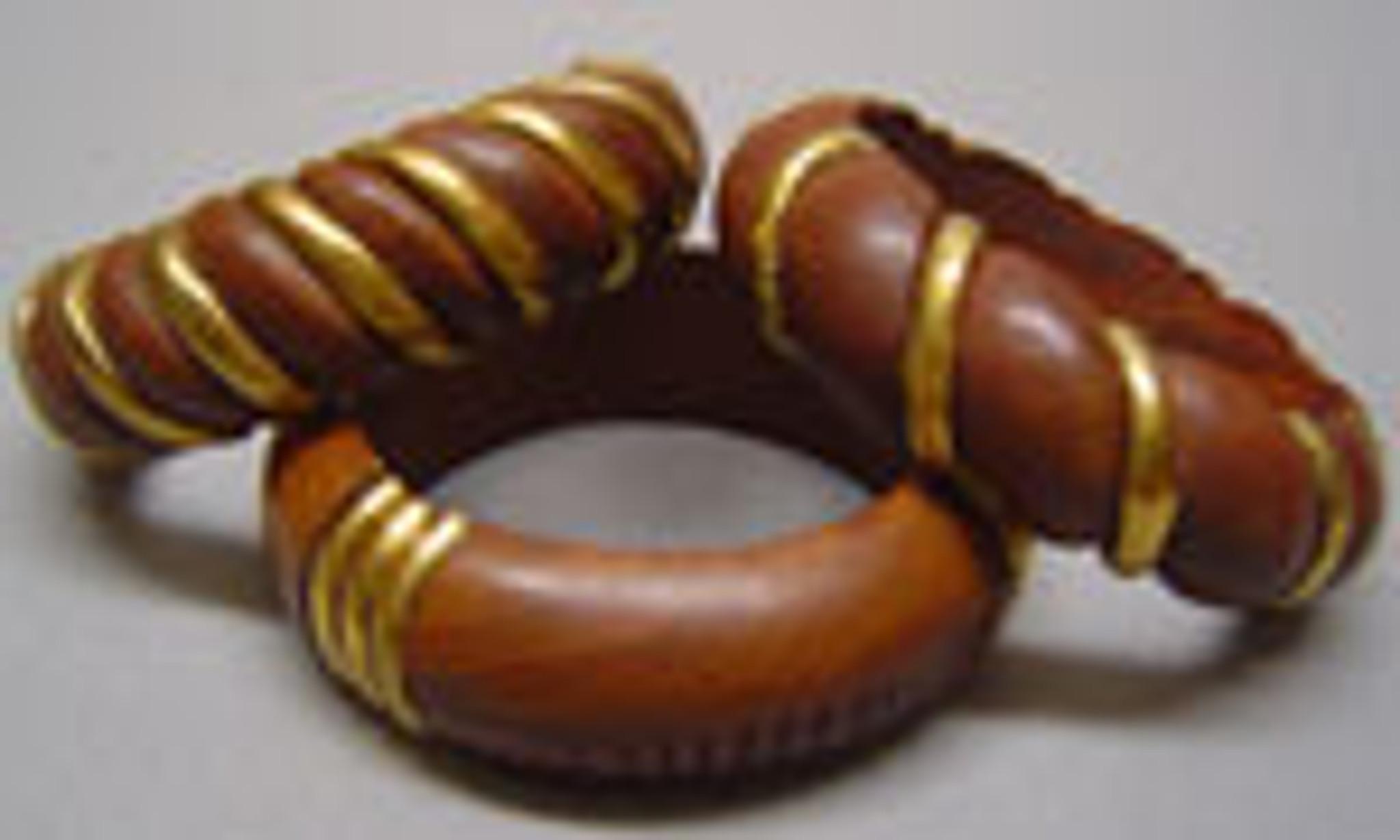 Oni Classic Wood Bangles with Gold Embellishment - 3pc Set