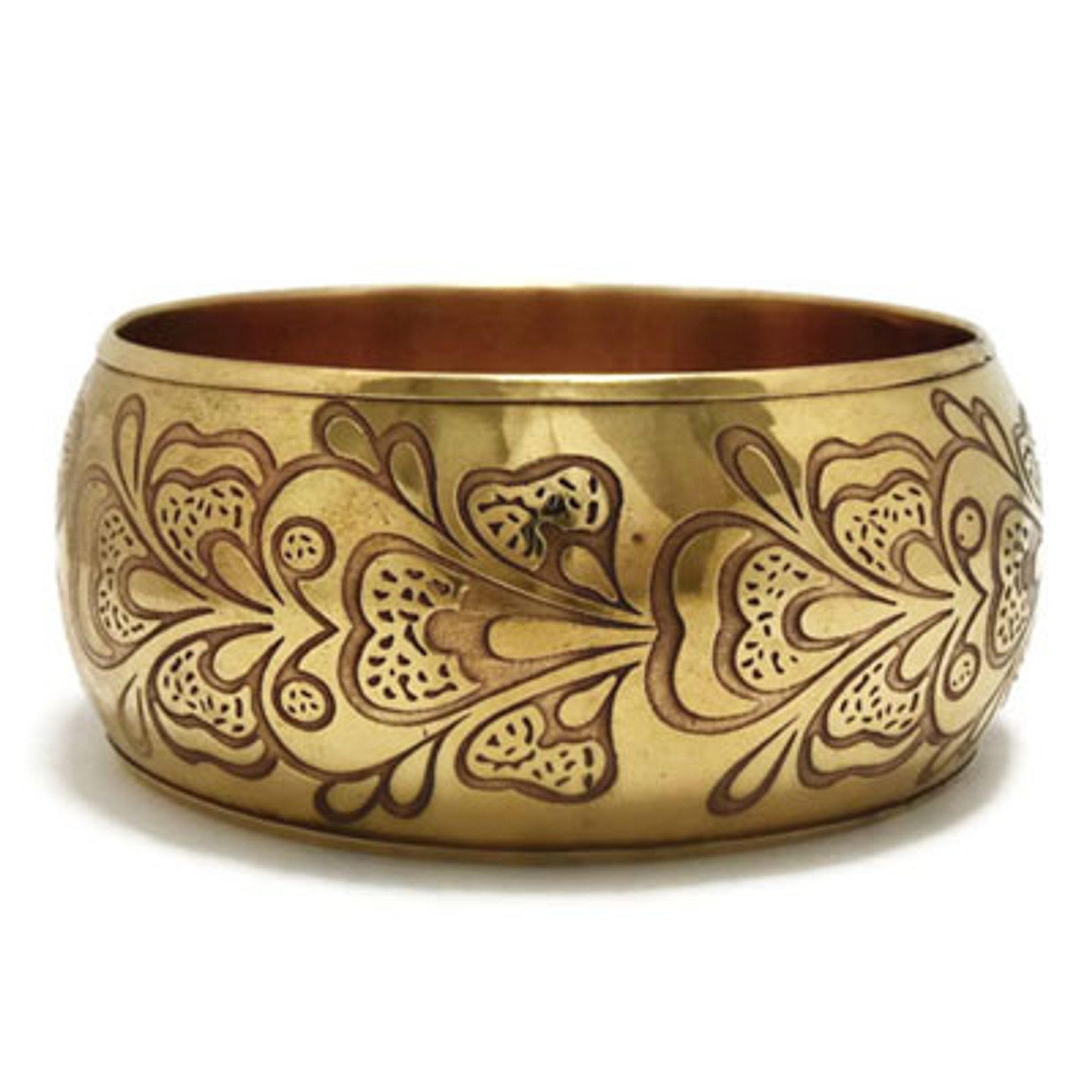 Nenna Floral Embossed Antique Brass Metal Bangle