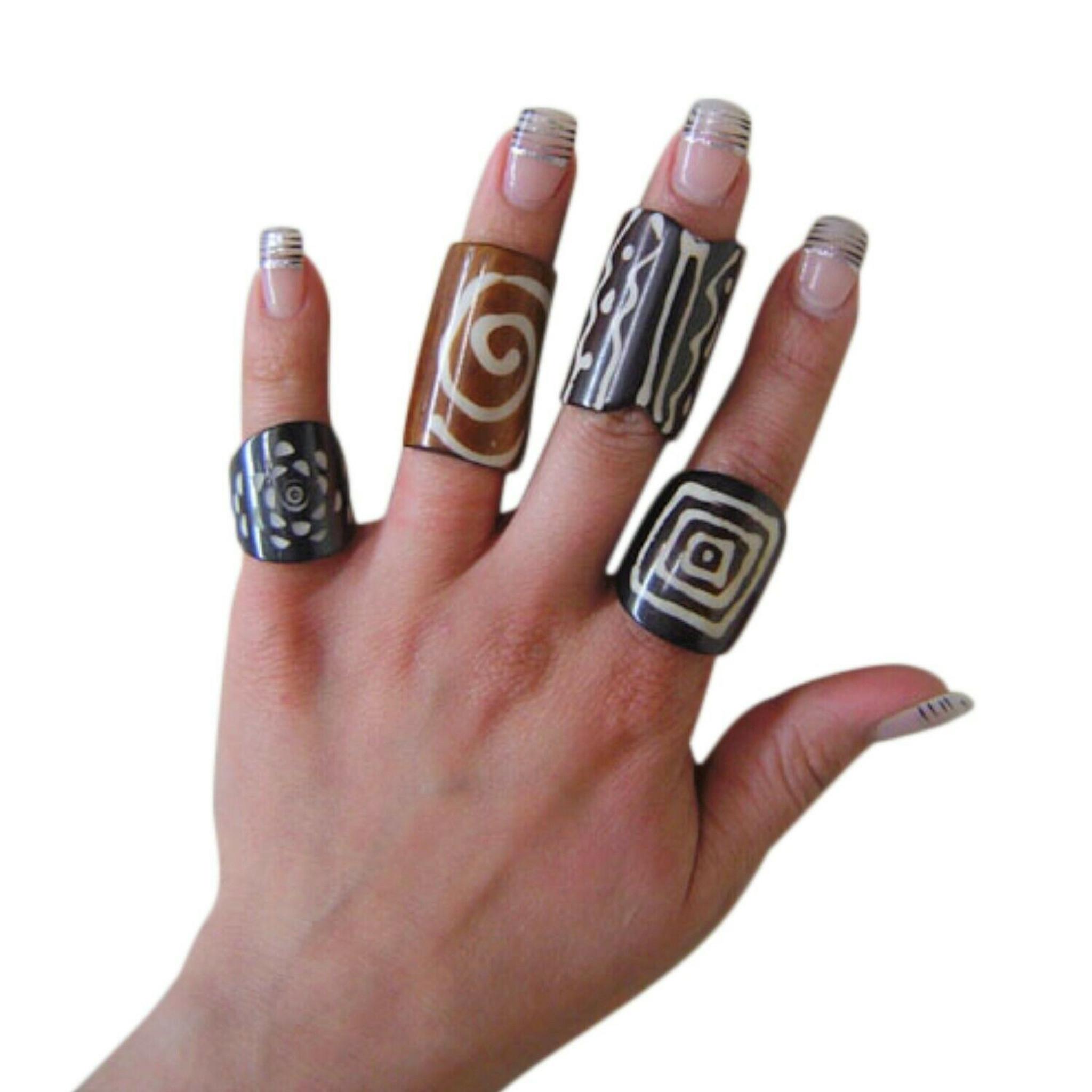 Assorted Batik Print Bone Rings