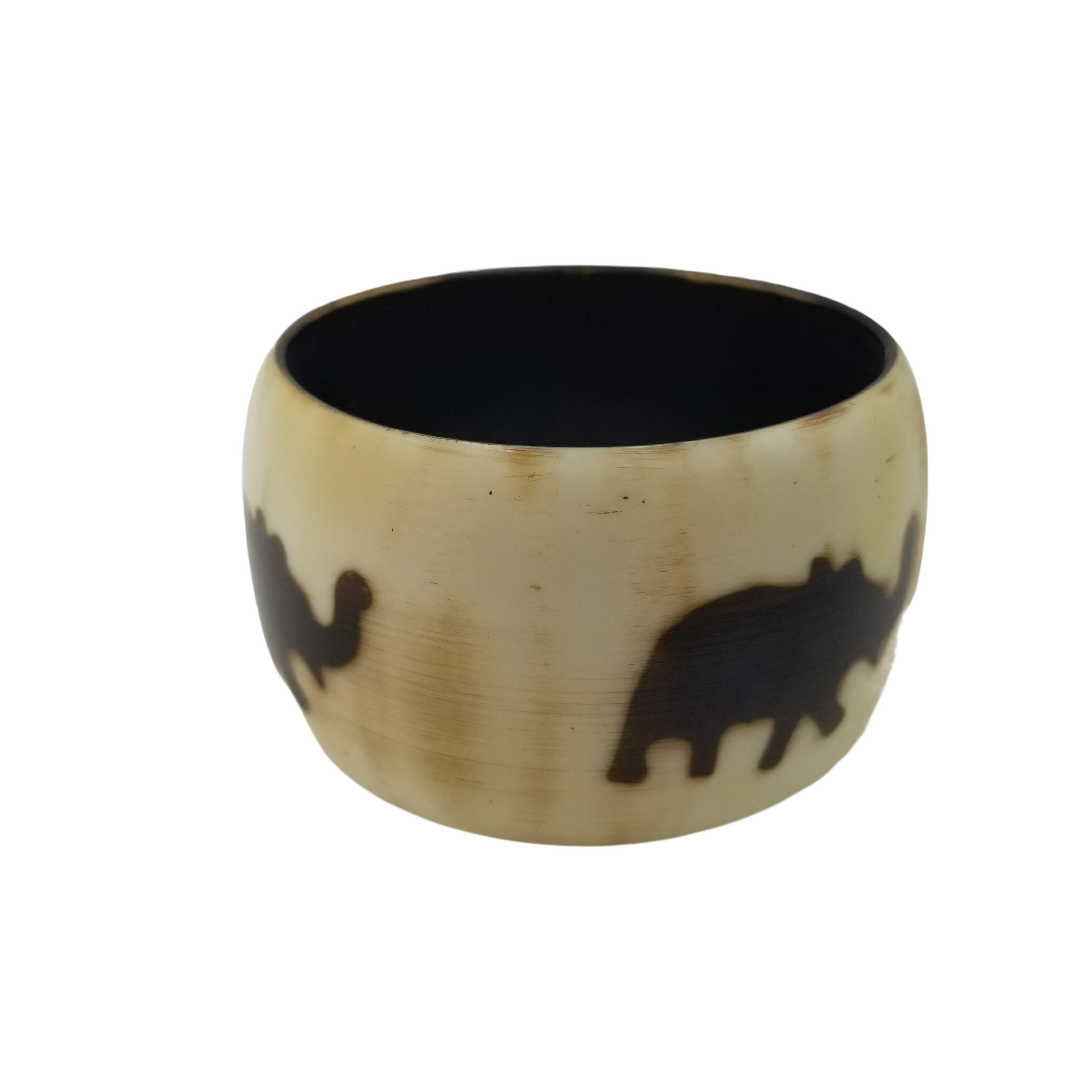 Jacenta Resin Bangle with Elephant Design White/Brown 2""