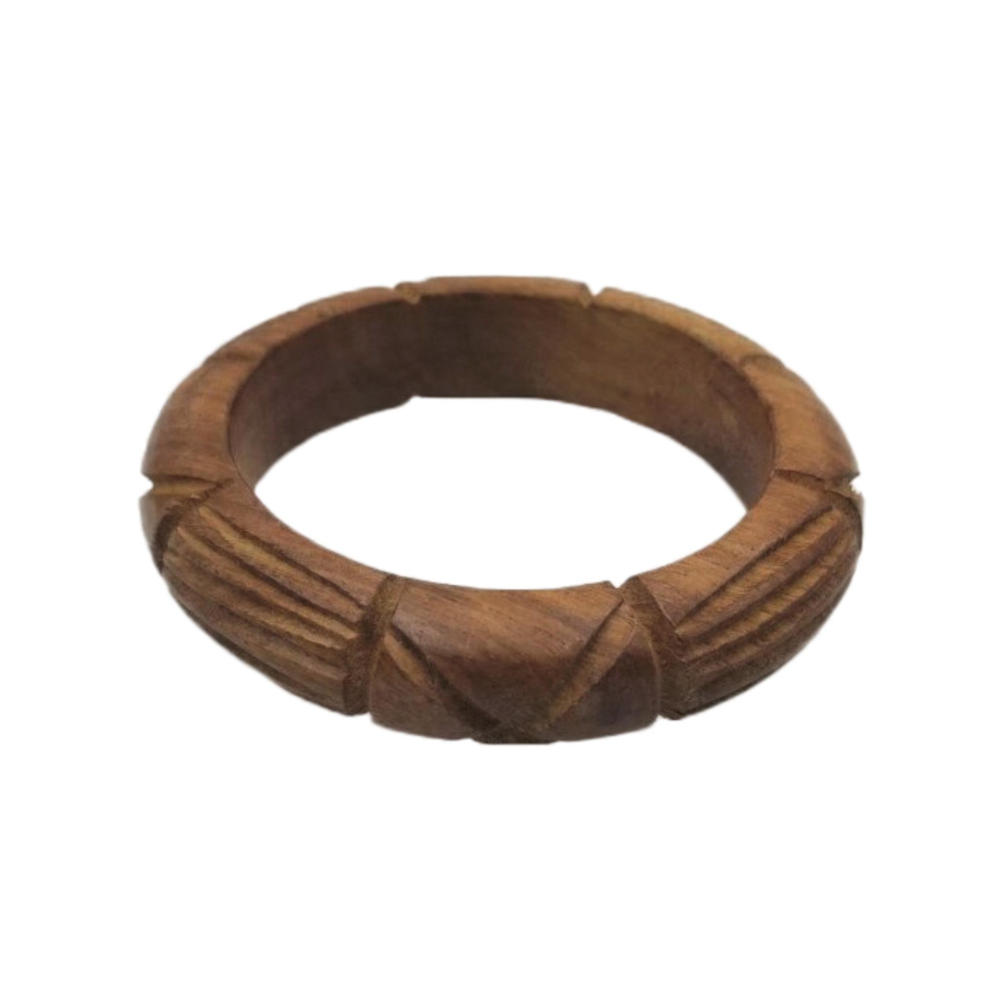 """Natural Wood Carving Bangle 3/4"""""""