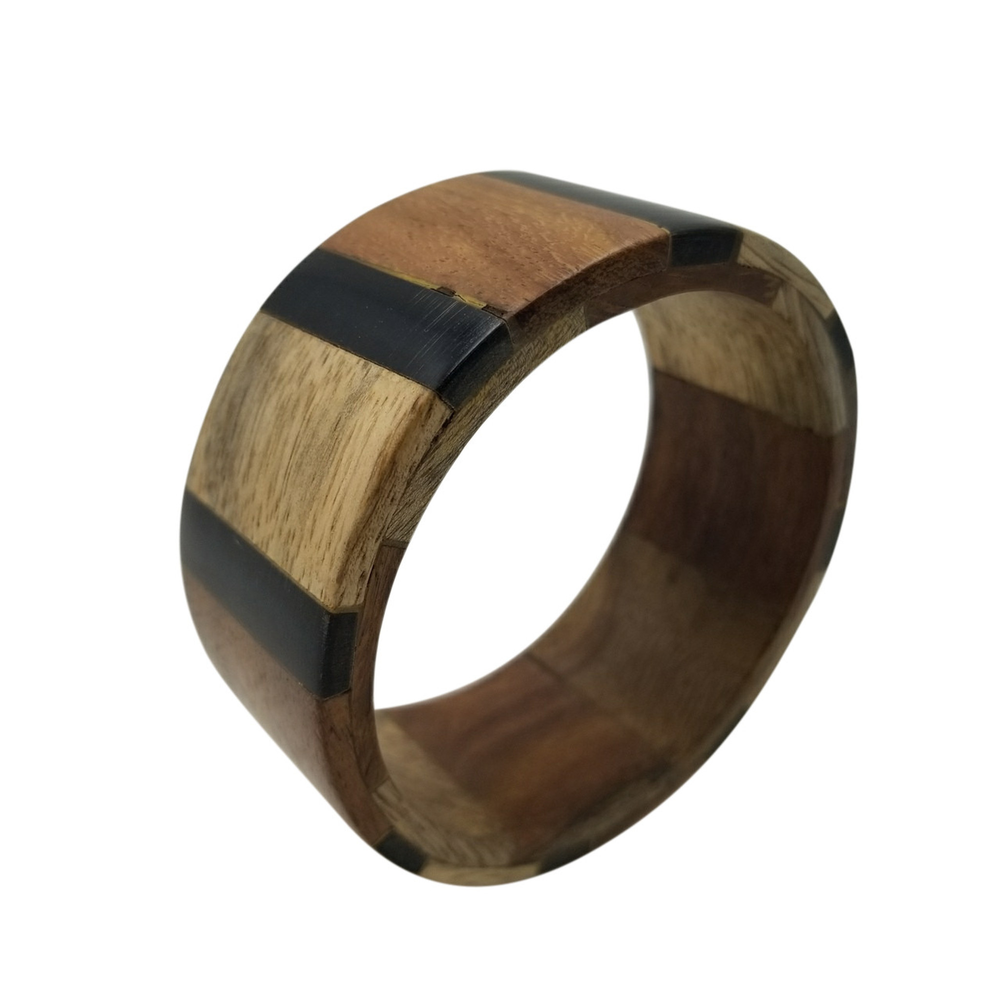 "Adaliya Classic Wood Bangle With Horn Inlay Work 11/2"""