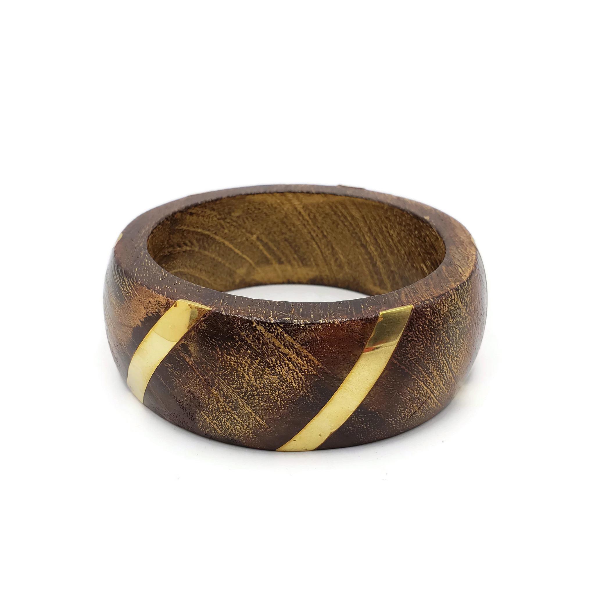 Adah Wood Bangles With Brass Strip