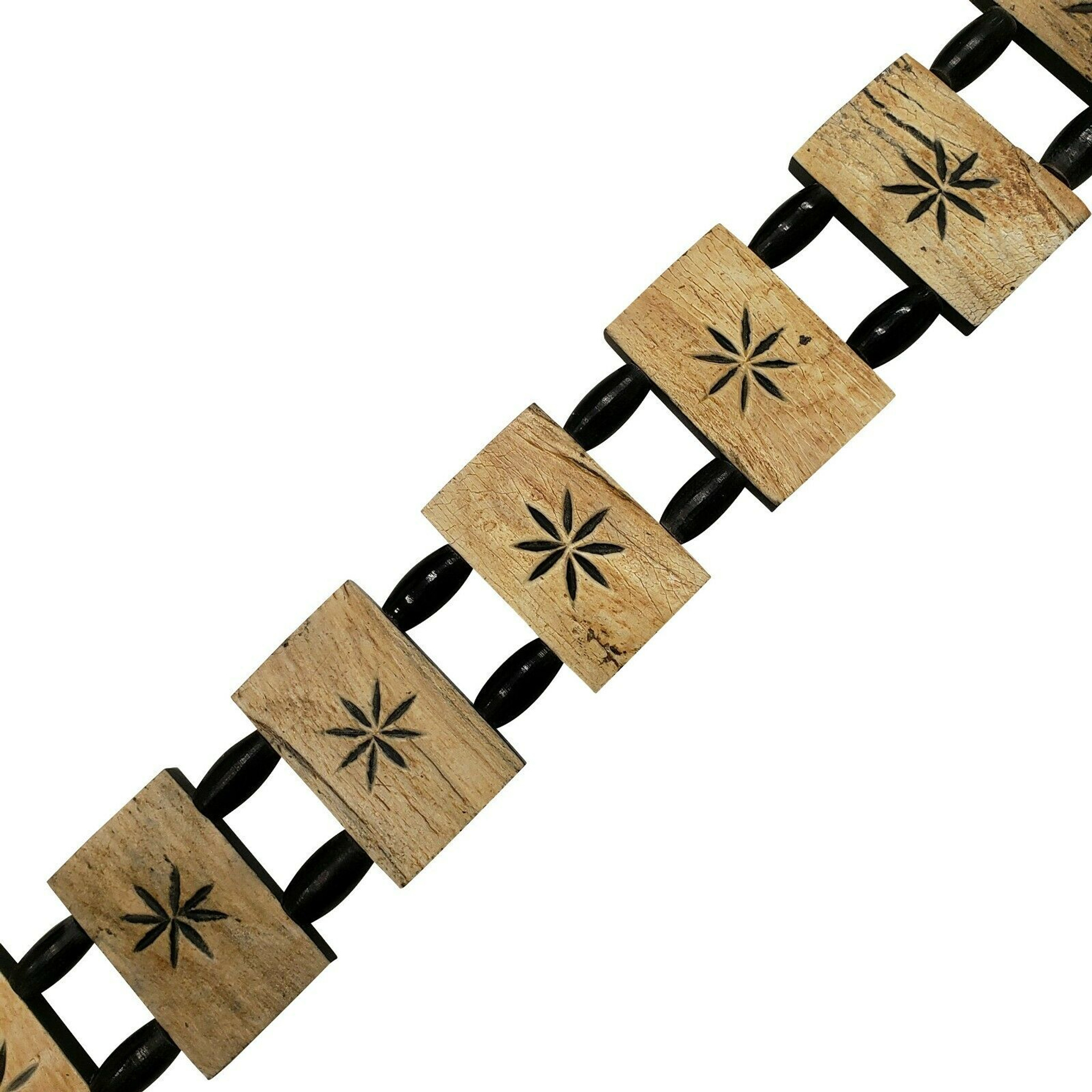 Shani Buffalo Horn Belt with Carved Flower Design