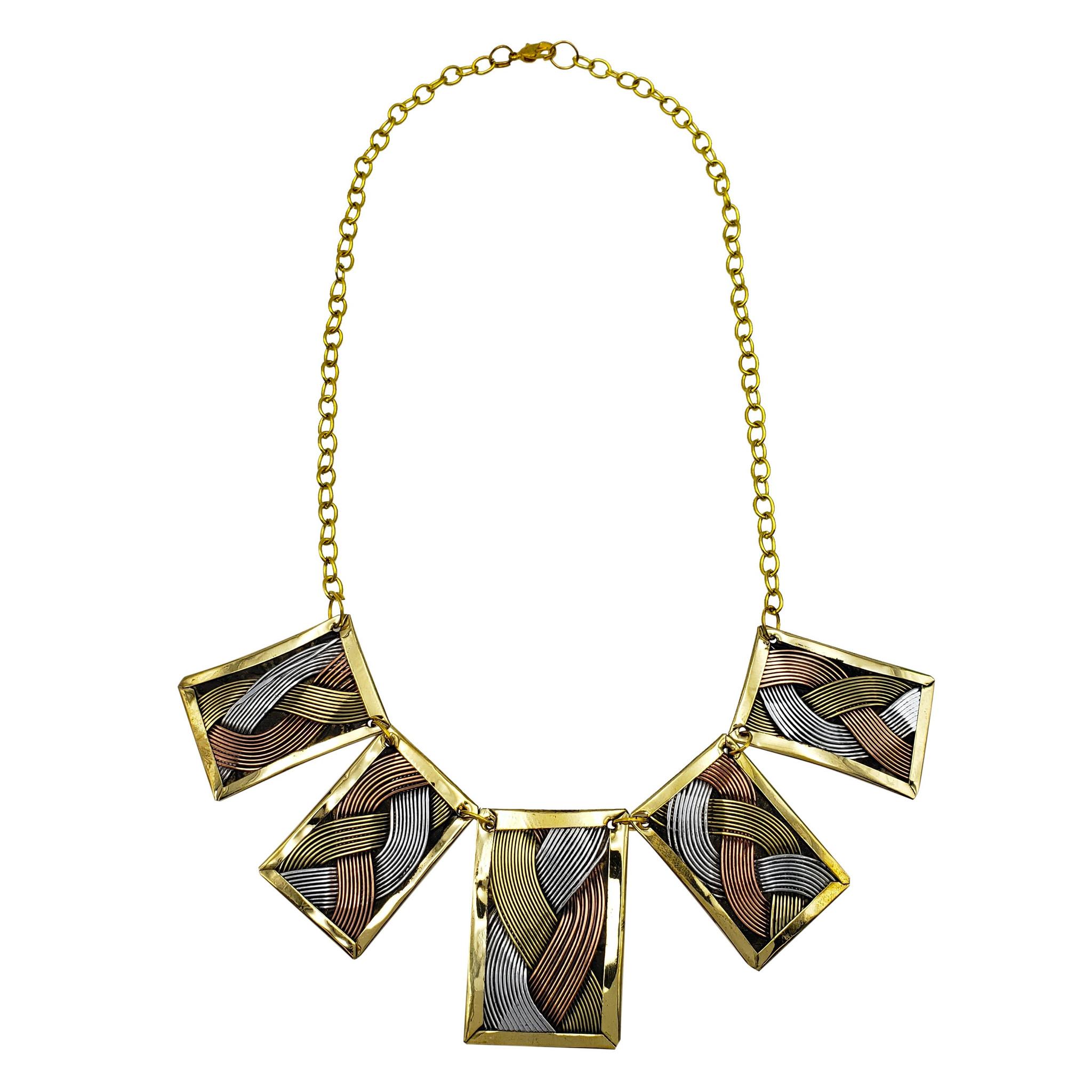 Issa Three Tone Weaved Brass Necklace