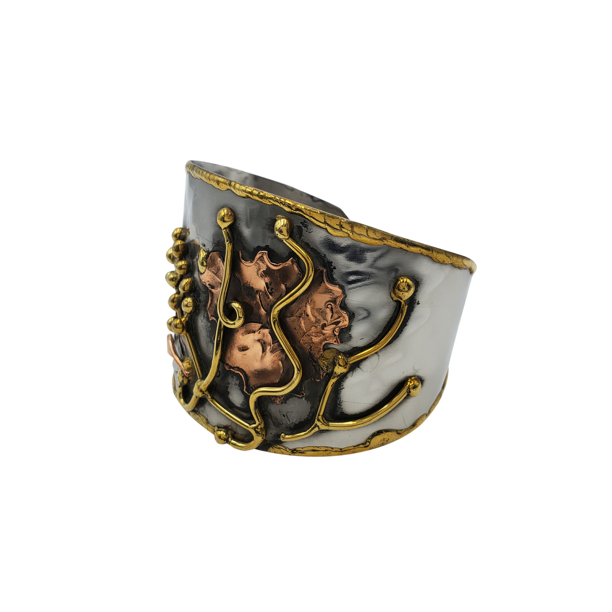 Agati Three Tone Brass Cuff with Hammered Copper and Brass Wire Accents