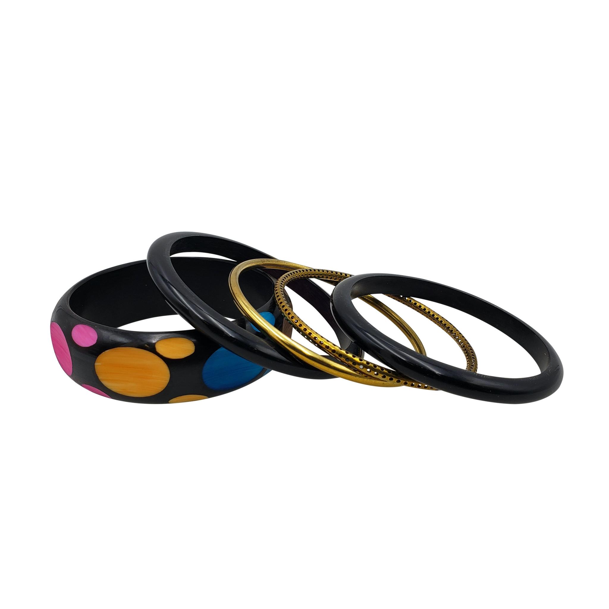 Rani Black & Gold Resin Bangle Set