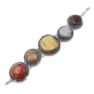 Leena Agate Stone Brass Bracelet