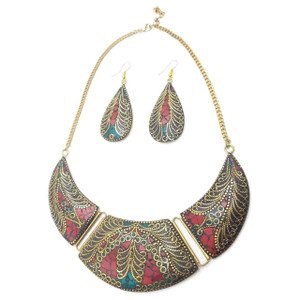 Jessa Filigree Crescent Necklace & Earrings Set