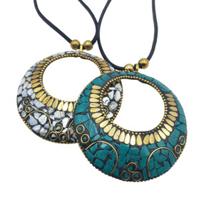 Numoon Brass Pendant with Mosaic Chips