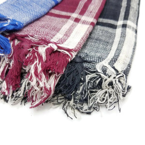 Akshara Checkered Arafat Keffiyeh Cotton Scarf