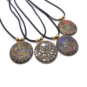 Amaya Mosaic Brass Pendant Necklace