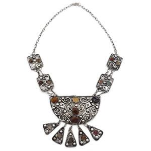 Boho Statement Necklace Pendant Agate Stone Kuchi Gypsy Hippie Fashion Jewelry
