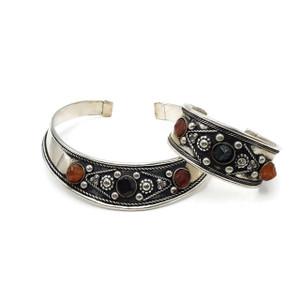 Brass Choker Necklace Silver Plated Cuff Set Agate Stone Boho Wholesale Lot HS05