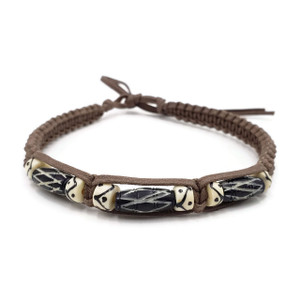 Anuli Buffalo Bone Hair Pipe Beads Choker Necklace with African Batik Print