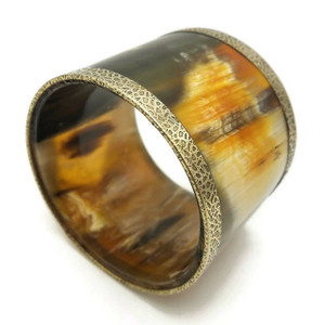 Chunky Horn Bangle Bracelet with Brass Linings