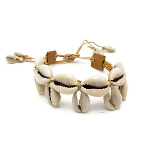 Cowrie Shell Anklet Woven Leather Waxed Cotton Beach Wear Fashion Jewelry