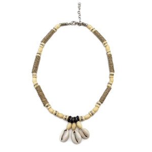 Cowrie Shell Choker Necklace Puka Shells Waxed Hemp Bone Beads Surfer Boho Jewel