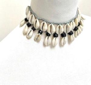 Cowrie Shell Necklace Boho Choker Ethnic Tribal Bib Beads Braided Cotton