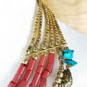 Constance Ethnic Multi Strand Bone and Gold Metal Beads Necklace