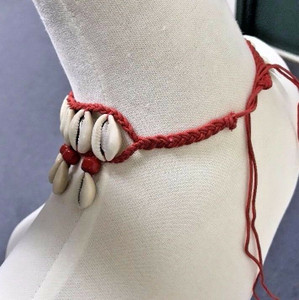 Cowrie Shell Necklace Choker Surfer Boho Festival Red Glass Beads Accents