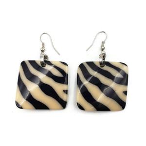 Fiona Square Resin Earrings with Zebra Print Design