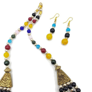 Chameli Fruity Beads Bib Statement Necklace  and Earrings Set
