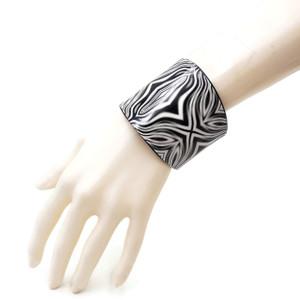 Celeste Boho Gypsy Bohemian Metal Cuff Bracelet in Black and White Trippy Design