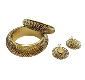 Aurora Chunky Net Gold Metal Bangle and Earring Set | Gold