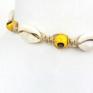 Gibi Cowrie Shell Hemp Choker with Evil Eye Glass Beads