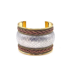Machi Three Tone Ornate Brass Cuff