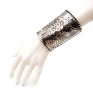 Ornate Brass Cuff Silver Wide Metal- Ethnic Gauntlet- Filigree Bracelet