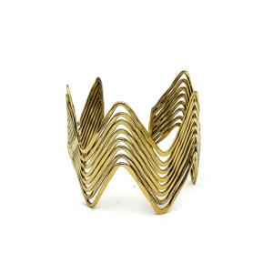 Folami Gypsy Style Fashion Multi Layer Zigzag Gold Plated Brass Cuff