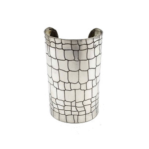 Amadi Ornate Brass Cuff with Etched Scales | Silver