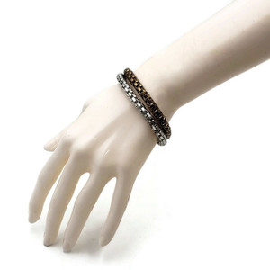 Snake Chain Bracelet Elastic Stretch Bracelet Three Tone 2pc Set
