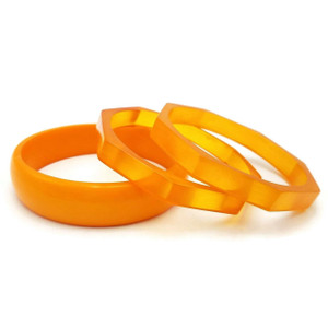 Peela Retro Style Orange Resin Bangle Set