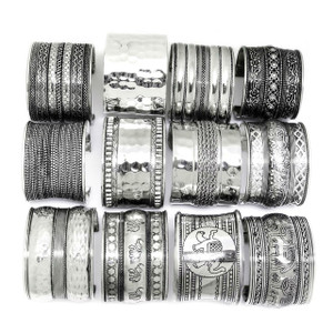 "Assorted 2"" Brass Metal Cuff Bracelet Silver Plated 12 Pieces"