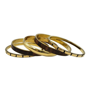 Alyssa Classic Brass and Wood Bangle Set