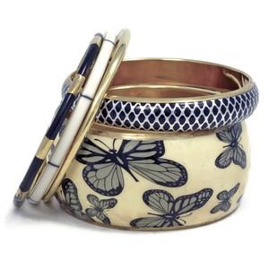 Brass Metal and Resin Butterfly Print Bangle Bracelet Set