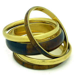 Bata Brass and Bone Bangle Bracelet Set