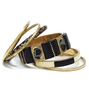 Hara Brass Metal Resin Bangle Bracelet Set
